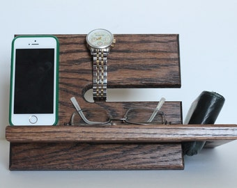 Large Model A | Wallet Watches Phone Docking Station | Phone Holder | Nightstand Wood Valet Multiple Stand Dock Father's Day Tech Gift
