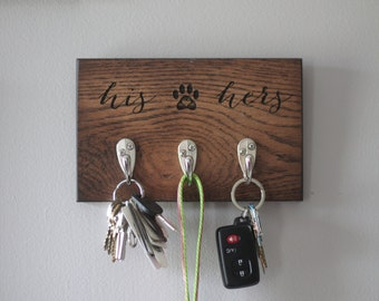 Wood Dog Leash Holder Rack | Gift for Pet Lovers | Key Holder | Leash Holder