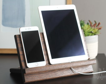Large Model E | Apple Products | Tablet Phone Watch Holder | Nightstand Wood Valet iPhone Charging Stand Dock Kindle Father's Day Tech Gift