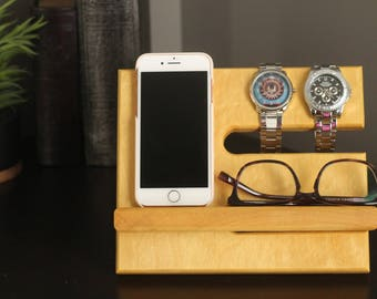 Yellowheart Limited Quantities Premium Valet Gorgeous Wood  Reclaimed Yellow Heart Wood Valet iPhone Galaxy Charging Stand Dock Graduation
