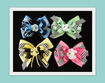Girls Retro Hair Bow Set