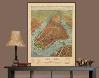 1879 New York City Map / Graphic, New York Canvas, New York Canvas, Canvas Art, New York Wall art, Vintage, New York Poster, New York Print