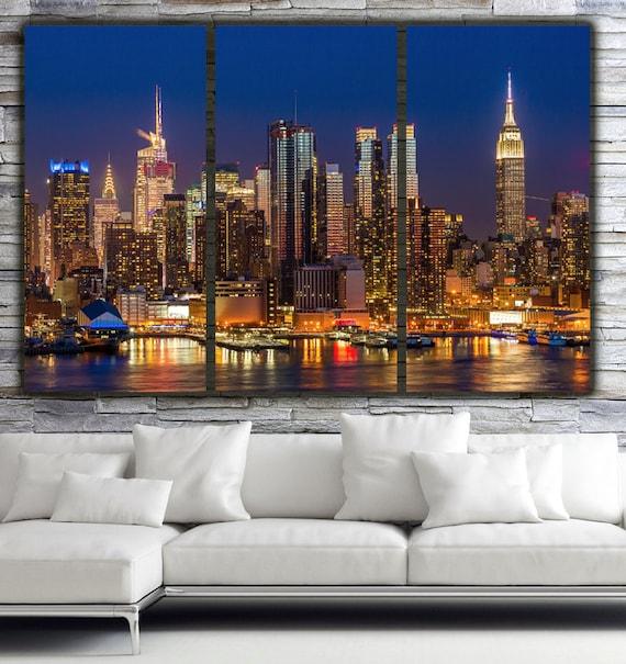 new york city skyline brilliant night new york canvas art etsy