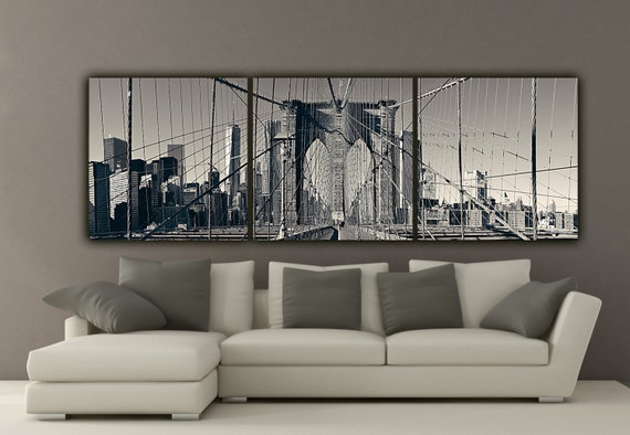 New York Brooklyn Bridge Canvas Wall Art Black and White New | Etsy