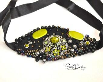 Statement green bracelet, statement black bracelet, beaded green bracelet, embroidery black bracelet, art to wear, green cuff, black cuff