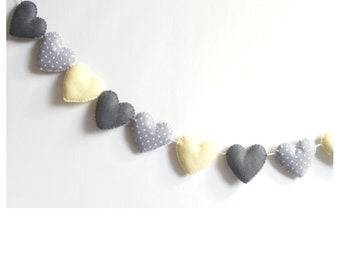 Heart  banner -garland - bunting - grey and yellow hearts- adjustable garland