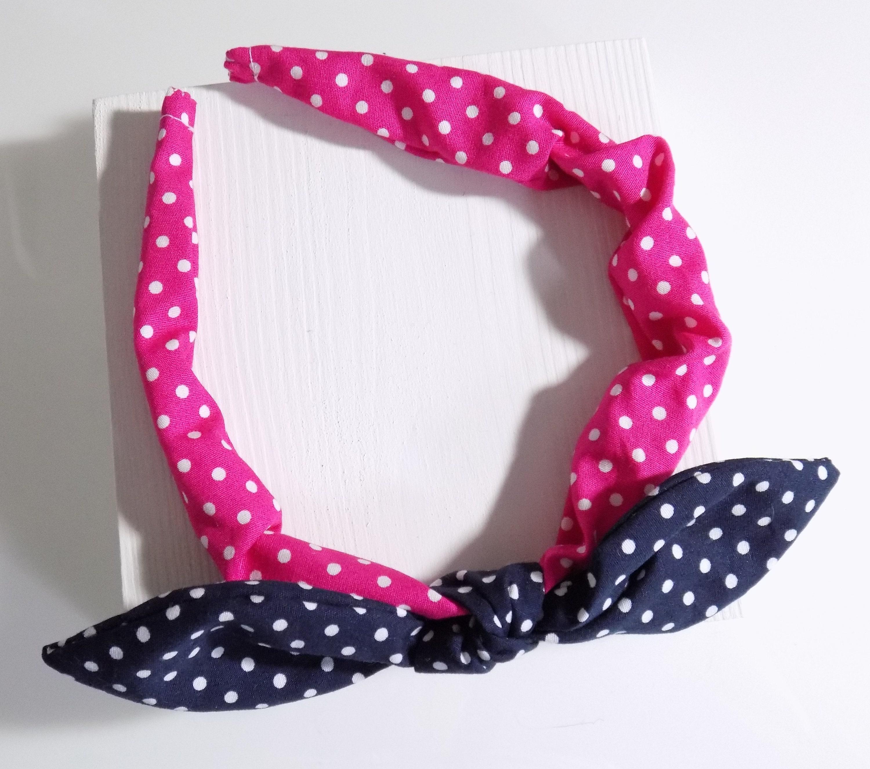 f11552eed11a Fascia di Dolly fiocco blu marino e rosa polka dot fascia | Etsy