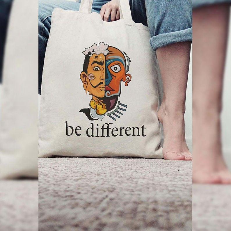 Aesthetic Tote Bag Cotton Tote Bag Be Different Shopping Bag Canvas Tote Bag MZshop Salvador Dali Reusable Shopping Bag