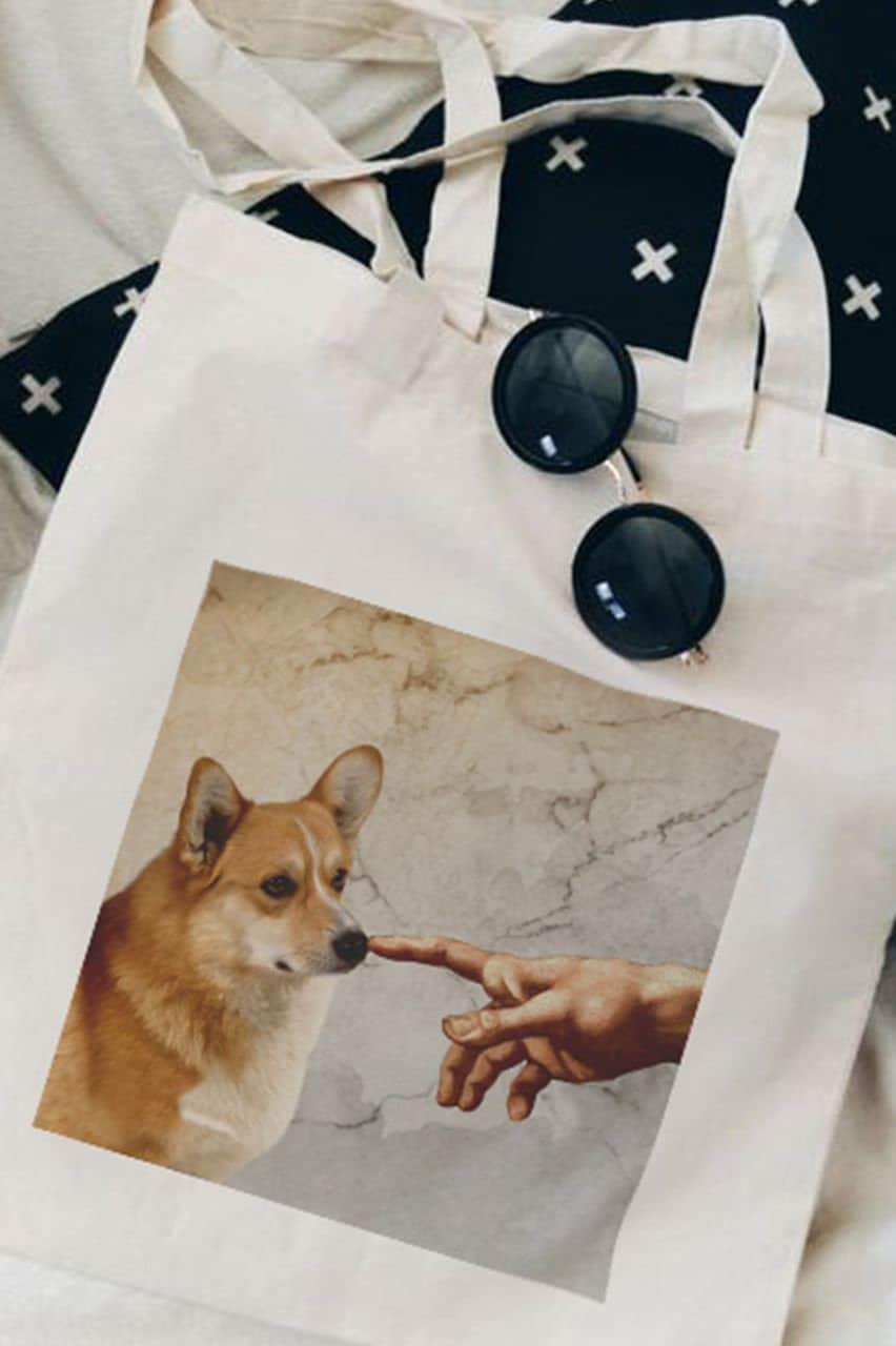 MZshop Tote Bag Van Gogh Selfie Aesthetic Arthoe Dog Masterpiece Grunge Unisex Gift Women Woman shopping bag shopper canvas tote bag