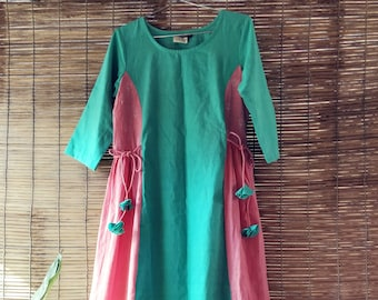 Teal Khadi Dress with Pink Side Pannels
