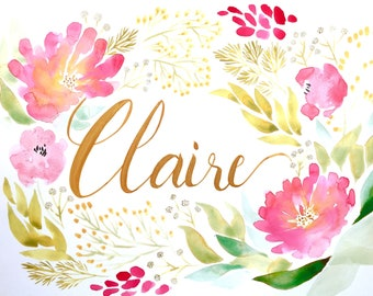 Custom Commission | Watercolor Name Painting