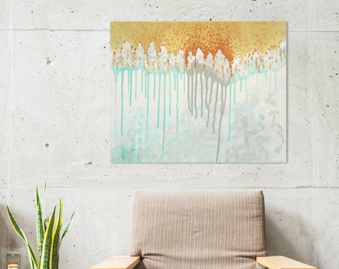 "Original Abstract Acrylic Painting | Abstract Art | ""Horizon Light""/""Human Wall"""