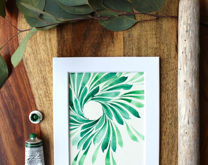"Original Abstract Watercolor Painting | ""Green Wreath"""