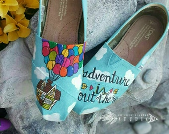 2b9264ab5ccd03 Disney Pixar UP Custom painted TOMS Canvas Shoes  Free shipping  Pixar toms