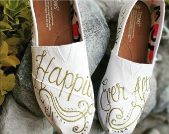 0b6f0f31eef Hand Painted Bridal Happily Ever After TOMS Free Shipping