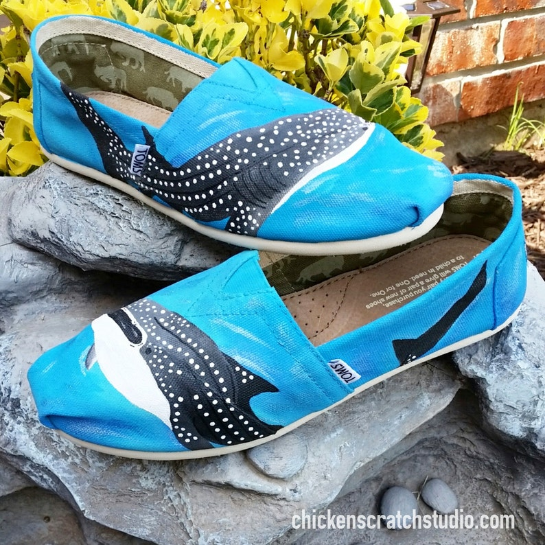 93654967cae Custom Painted Ocean Whale Sharked TOMS Free Shipping