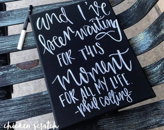 In The Air Tonight, Phil Collins hand lettered canvas art piece