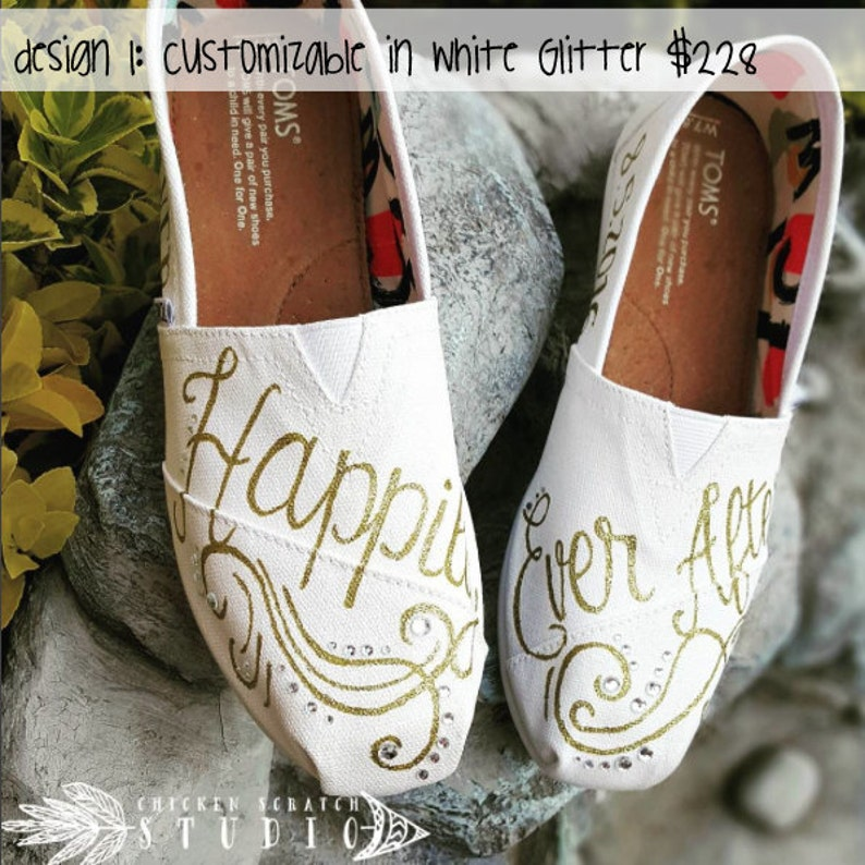 9e4bffd96457 Hand Painted Bridal Happily Ever After TOMSFree Shipping