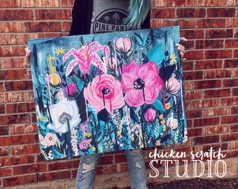"Midnight Garden 36x24"" canvas painting"