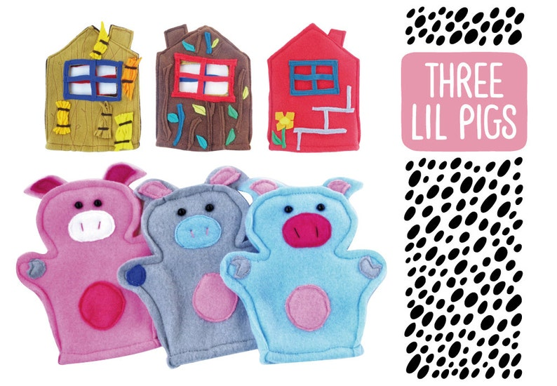 Three little pigs story hands set image 0