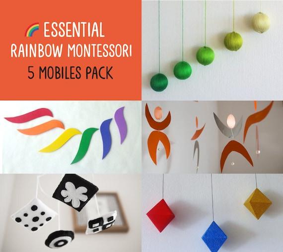 Montessori mobile Rainbow Dancers Black and white mobile Green Gobbi Hanging mobile Baby mobile Octahedron Set of 5 Montessori inspired mobiles Crib toy.