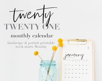 PRINTABLE 2021 CALENDAR (week starting Monday) with modern typography > monthly planner / wall calendar / A4 landscape & portrait