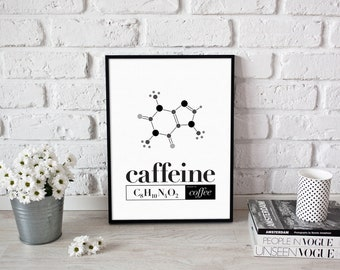 Caffeine Chemistry > quirky coffee typography print / kitchen / home decor / gift for geeks / science is cool
