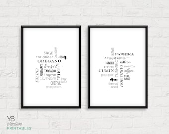 Herbs & Spices Kitchen Print > printable instant download / kitchen decor (set of 2) / basil, parsley, rosemary, cinnamon, thyme