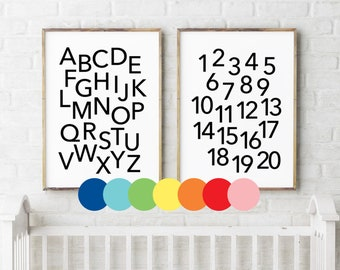 ABC 123 printable download > alphabet & numbers poster with customised colour / nursery decor / playroom print