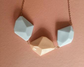 Necklace polygons salmon pink geometric