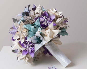 Origami paper flower etsy origami bridal bouquet paper flower bouquet harry potter book page bouquet bridal set origami flower bouquet mightylinksfo