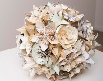 Paper flower bouquet etsy paper flower bridal set paper flower bouquet origami bouquet harry potter neutral coloured bouquet mixed origami flowers mightylinksfo