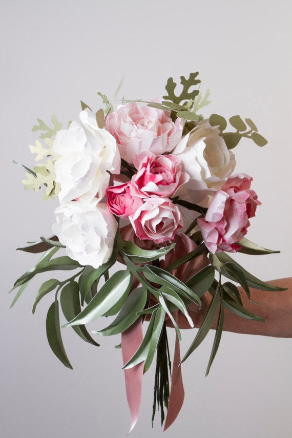 Paper flower bouquet paper peony bouquet eucalyptus leaves etsy image 0 mightylinksfo