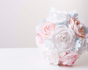 Peony paper flower bouquet, origami bouquet,  origami flowers, alternative wedding bouquet, paper flowers