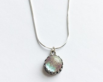 Sterling Silver Dichroic Glass Charm Necklace