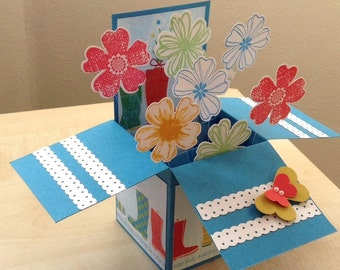 Handmade Card in a box, birthday, new home, get well soon, thank you, mother's day card.