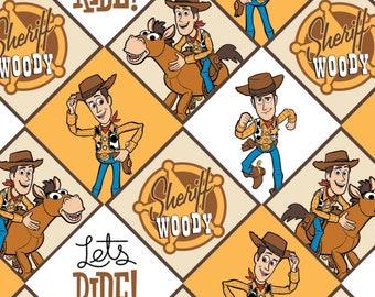 Tela De Toy Story 100/% algodón metro de material de regalo Buzz Lightyear Woody Spaceman