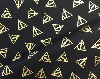 Harry Potter Deathly Hallows Logo Metallic Gold Hogwarts Magical Wizard Witch Cotton Fabric Wizarding World Collection by Camelot Fabrics