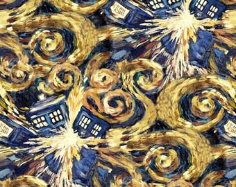 Doctor Who Exploding Tardis Van Gogh Dr Who BBC Geek Cotton Print Fabric