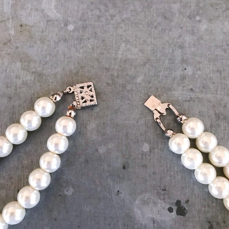 vintage bridal pearls 2 strand pearl necklace ivory pearls string of pearls vintage pearl necklace Vintage pearls with rhinestone beads