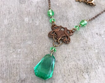 Re-purposed necklace, handmade  necklace, up-cycled vintage necklace, green glass beads, antique bronze, green, art nouveau, green glass,