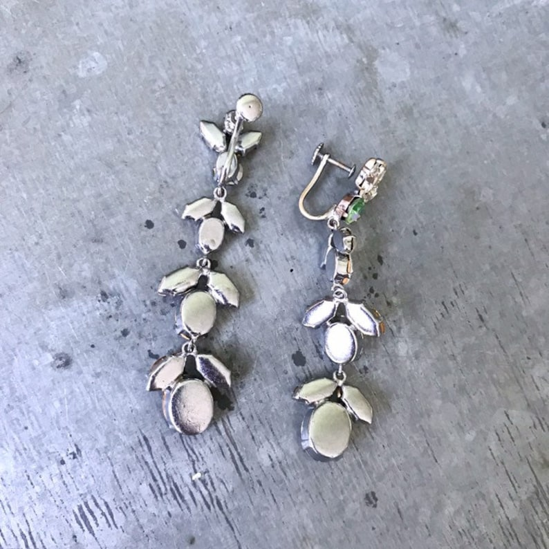 statement earrings Long dangle rhinestone earrings prom vintage rhinestone earrings wedding vintage diamante earrings vintage bridal