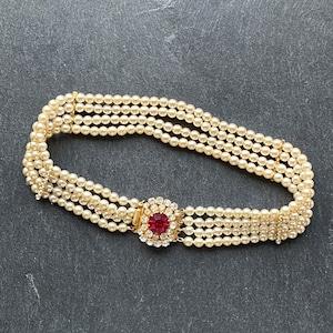 vintage pearl choker bridal pearls vintage choker ruby red pendant Vintage pearl choker with red front pendant vintage bridal pearls