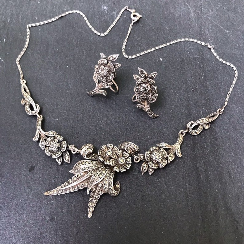 vintage bridal, silver bridal jewellery marcasite set real silver marcasite Vintage solid silver marcasite necklace and earrings