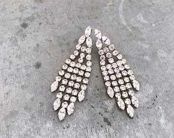 Huge diamante dangle earrings, rhinestone earrings, vintage earrings, vintage diamante, chandelier earrings, bridal earrings, crystal,