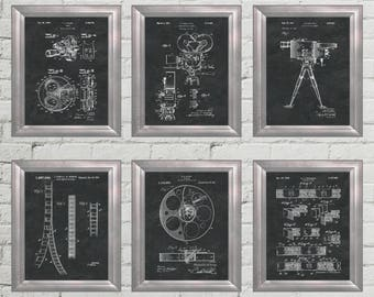 Home Theater Decor Patent Art Hollywood Wall Art Movie Poster Film Strip  Artwork Home Entertainment Decoration Movie Decor Set Of 6 PP 9609