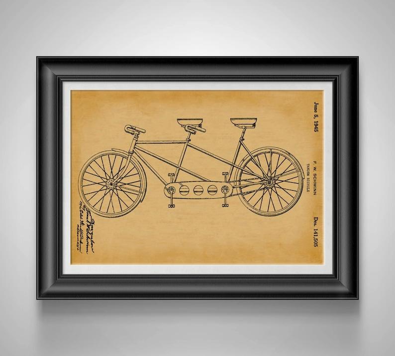 Schwinn vintage bike print gift for athlete tandem bicycle etsy