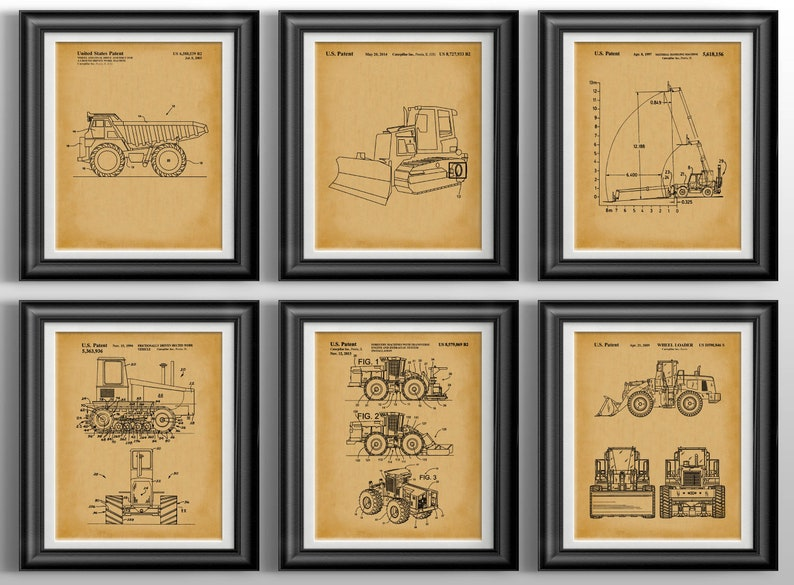Sci-fi movie patent art prints set of 6 chalkboard wall art kids bedroom decor