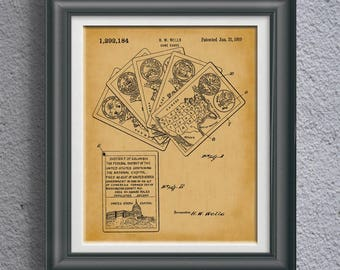 United States History Card Game Patent State Facts Artwork USA Historical Wall Art History Teacher Poster History Teacher Wall Art PP 9075