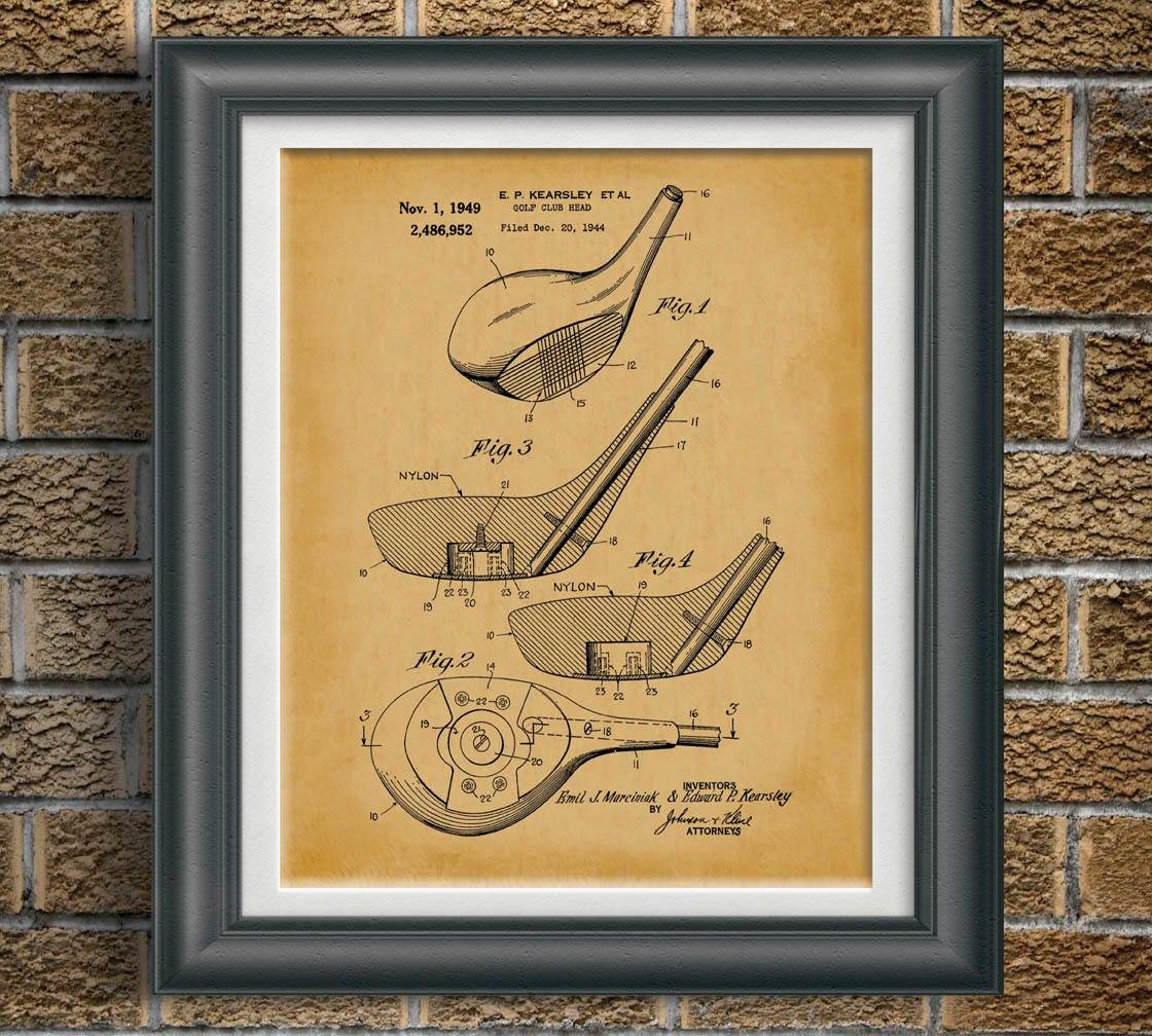 Office Pictures For Walls Golf: Vintage Golf Patent Print Golf Club Office Wall Art Golf